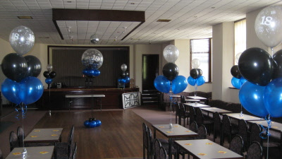 5 balloon tablecentre blueblack